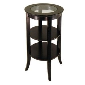Winsome Wood Genoa Accent Table, Inset Glass, two shelves