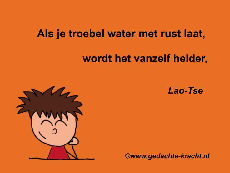 Als je troebel water met rust laat, wordt het vanzelf helder. Lao-Tse