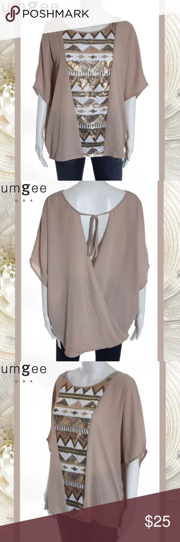"""UMGEE USA Beige/Wht/Gold Sequin Dolman Sleeve Top SIZE XL. 27"""" Length. 40"""" Bust. Semi-Sheer Rose-Beige Color w White, Silver & Gold Sequin Front. Geometric Pattern. 11"""" Dolman/Batwing Sleeves. Unique Criss-Cross Back. Loose Fitting & Totally Chic. 55% Cotton/45% Polyester. Hand Wash. NEVER WORN Umgee USA Tops Blouses"""