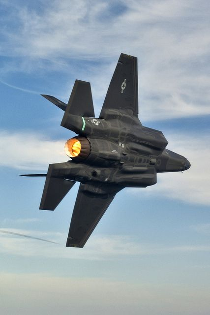 F-35A Lightning II in Flight. It really should be called the Phantom III given how fat and ungainly it is.