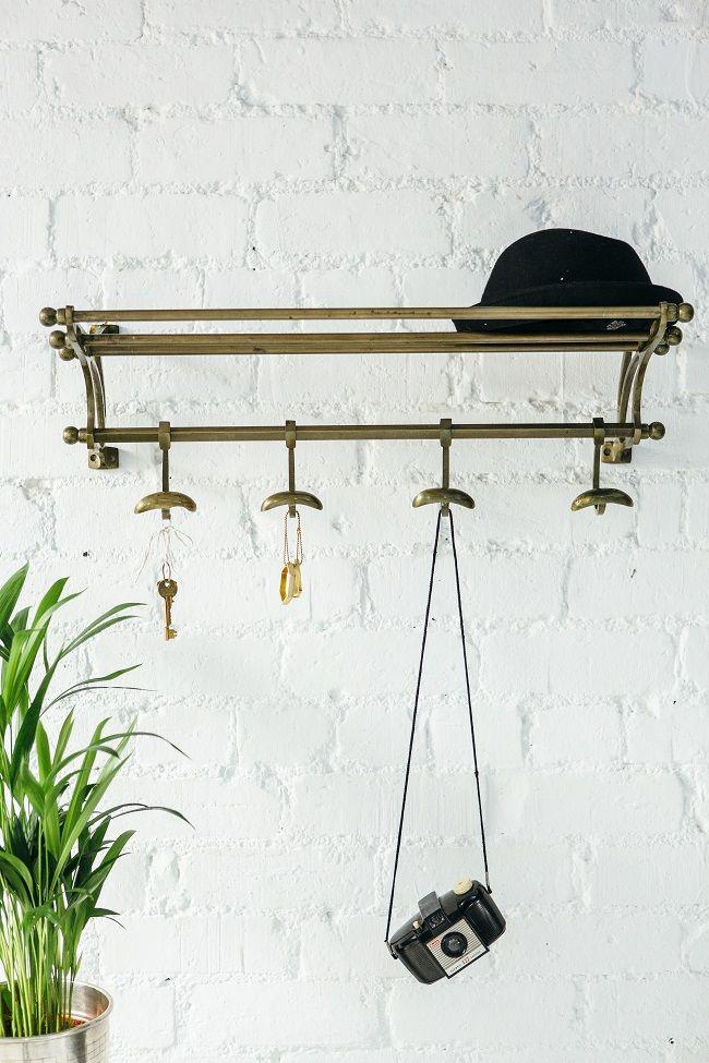 small entrance hall ideas, vintage wall mounted coat rack