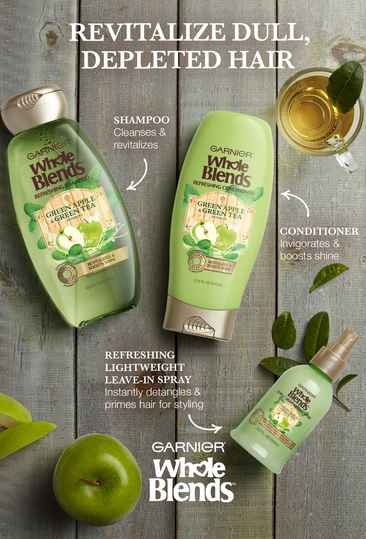Do away with dull, depleted hair. Revitalize it with New Garnier Whole Blends Refreshing Haircare. It's paraben-free and blooms with a tropical fragrance of Green Apple & Green Tea extracts. The Refreshing Shampoo cleanses and revitalizes while the Refreshing Conditioner invigorates and boosts shine. Use the Refreshing Lightweight Leave-in Spray to instantly detangle and prime hair before styling. Explore the full Refreshing Haircare System for naturally beautiful hair.