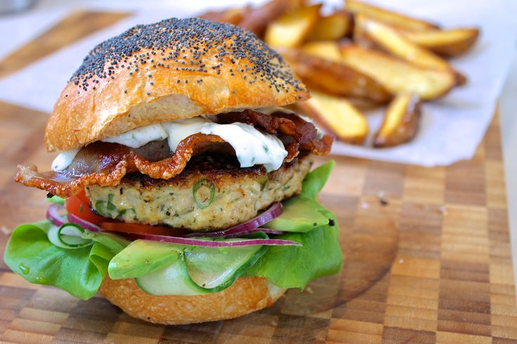 Chicken burgers with bacon & basil avocado mayo