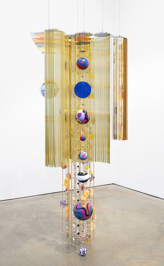 Mariola 2015 Aluminum, polyester and paper flowers, foiled paper, woodblock, screenprint 89 x 42 x 32 in Edition of 3 © Beatriz Milhazes. Courtesy James Cohan, New York / Shanghai. Photo: Adam Reich.