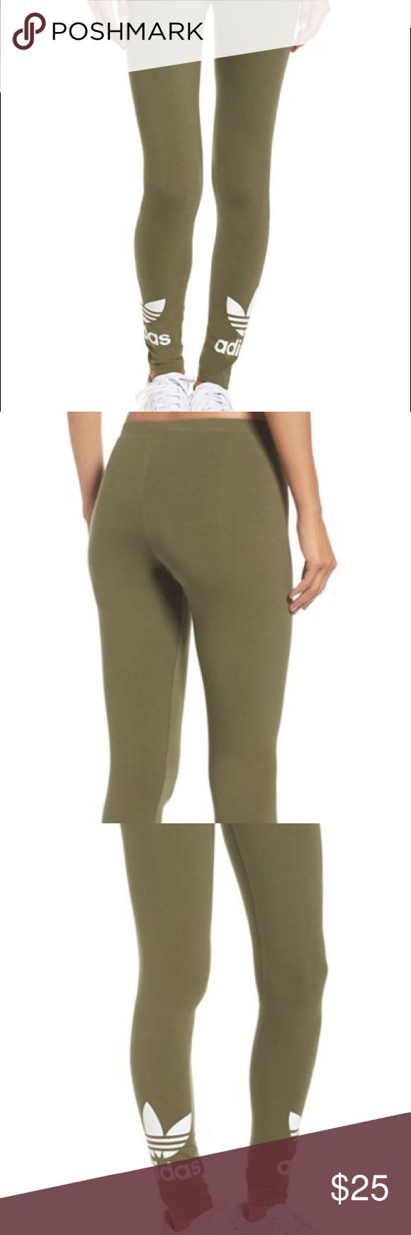 Adidas Olive Green Trefoil Leggings (Large) A pair of Adidas' olive/army green colored leggings. These leggings have the adidas logo near the ankles of both pant legs. The leggings are very flexible and comfy. They are super stylish and sold at popular stores like Urban Outfitters and Nordstrom. They have **never been worn and are new with tags** Adidas Pants Leggings