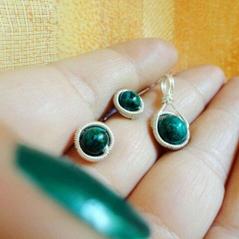 New in my shop: chrysocolla and sterling silver!
