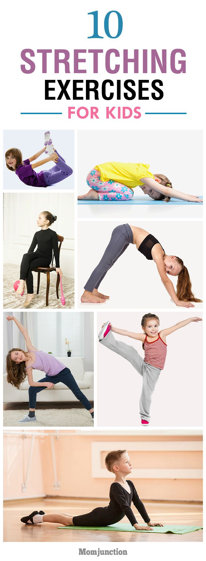 Practicing stretching exercises for kids before their workouts will keep their muscles and joints strong. So, here're the best 10 stretching exercises for them!