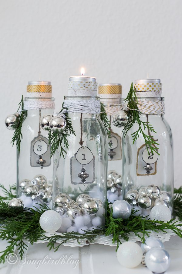 advent candles decoration with bottles - lovely!