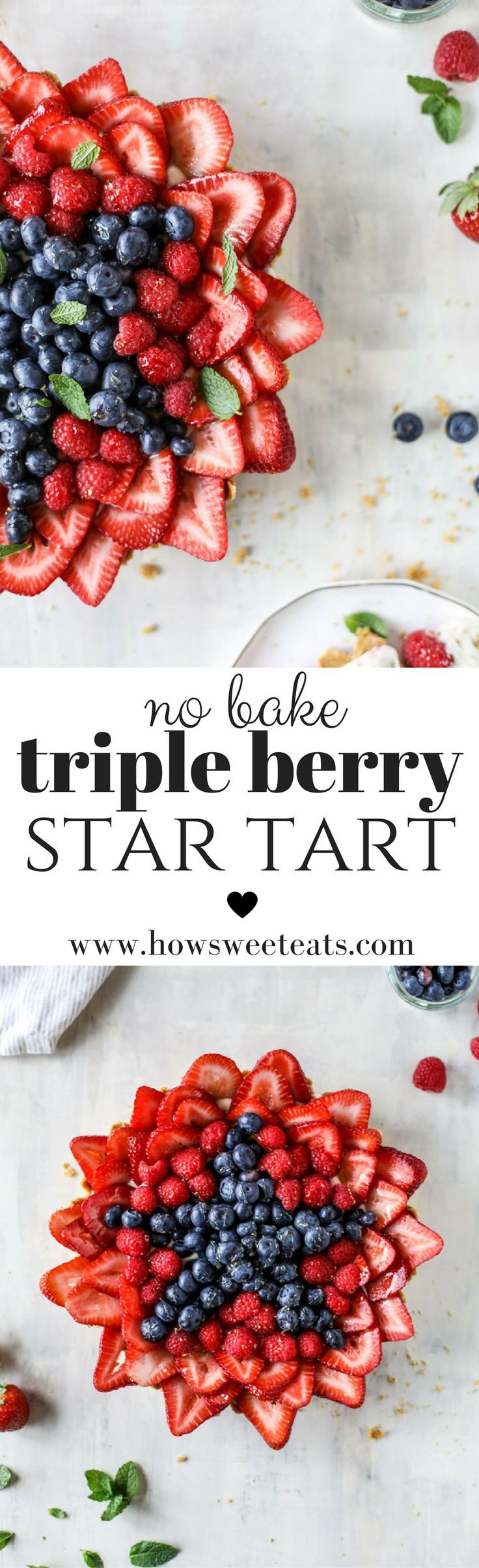 VIDEO! This NO BAKE Cheesecake Triple Berry Star Tart is perfect for the 4th of July! I howsweeteats.com