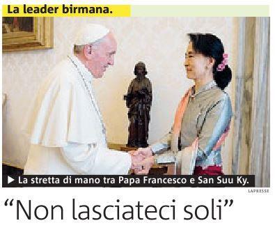 """프란체스코 교황, 아웅산 수치 여사 만나 """"평화 위한 노력 계속해 달라"""" 당부"""