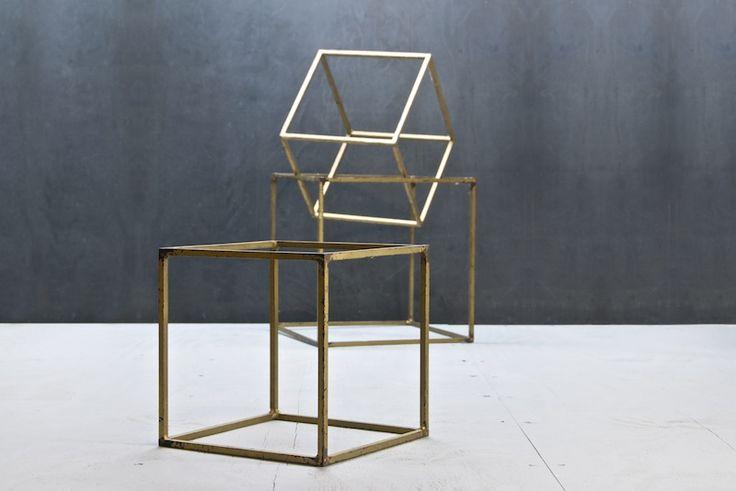 1960s. Vintage Industrial Metal Pop Art Cube Geometric
