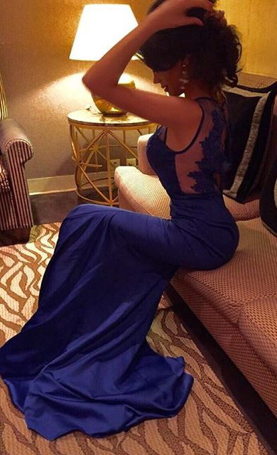 Royal blue mermaid long prom dress! Lace prom dress! #mermaid #prom #royalblue