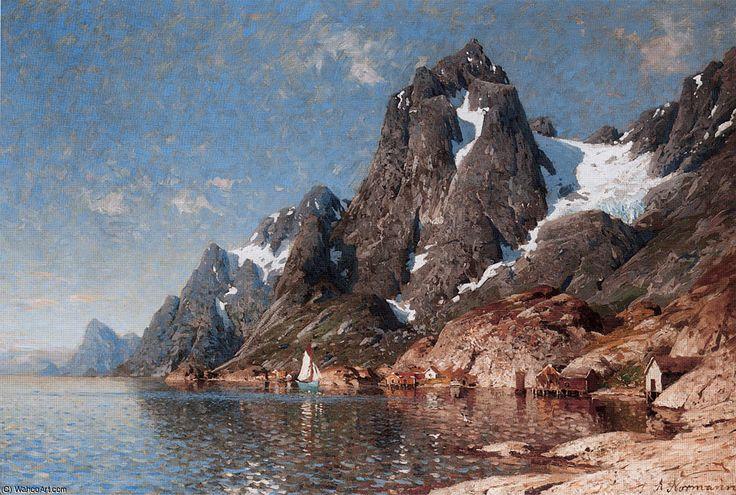 Voile sur le fjord de Adelsteen Normann (1848-1918, Norway)