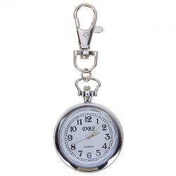$3.19 DBS Pocket Watch with Numbers Marks Round Dial - Silver