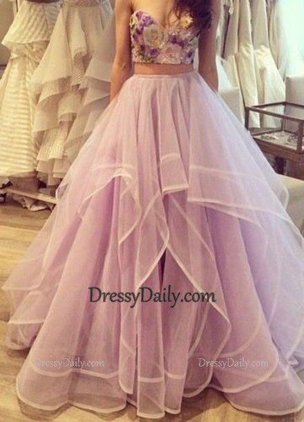 Light Lavender Tulle Two Piece Prom Gown Embellished With Embroidery - PROM