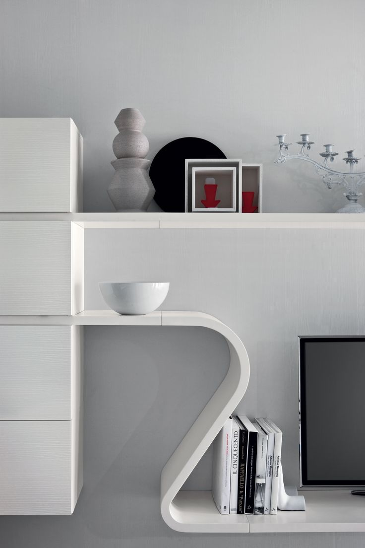 ... Modular Wall Unit Made Up Of Cabinets From Novamobiliu0027s Day Collection,  With Curved U0026 Straight Shelves U0026 Spacers From Their New Wave Range, ...