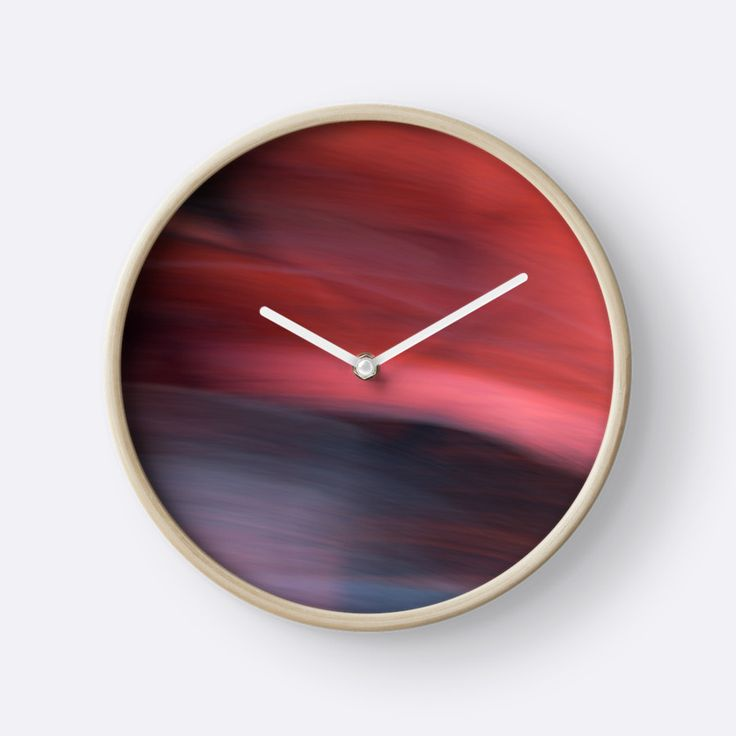Abstract Red / Rouge abstrait clock by Galerie 503