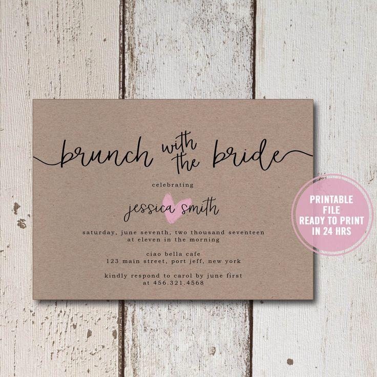 rustic bridal shower invitation printable brown paper bridal shower invite rustic bridal brunch
