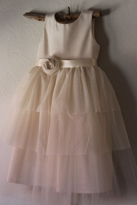 Vintage style Flower Girl Dress natural Organic cotton