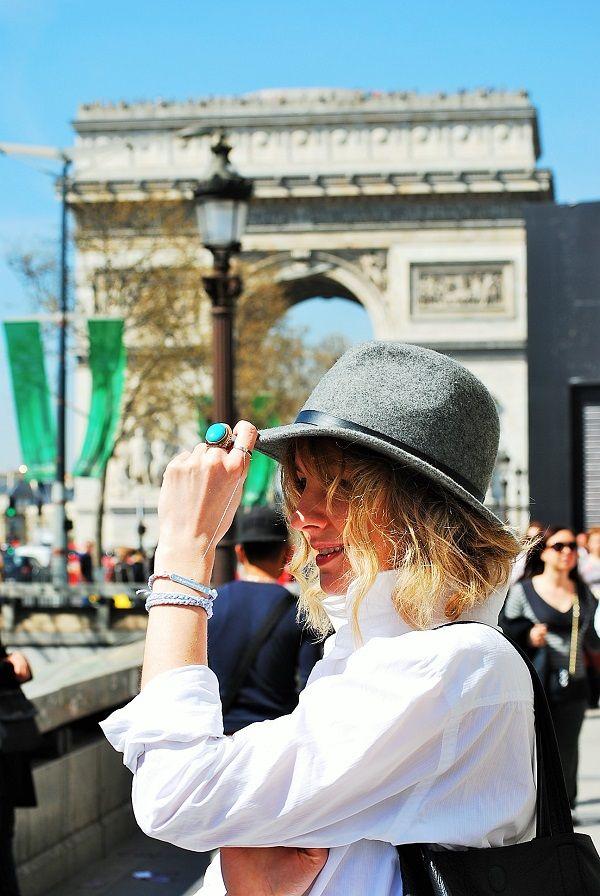white shirt and hat