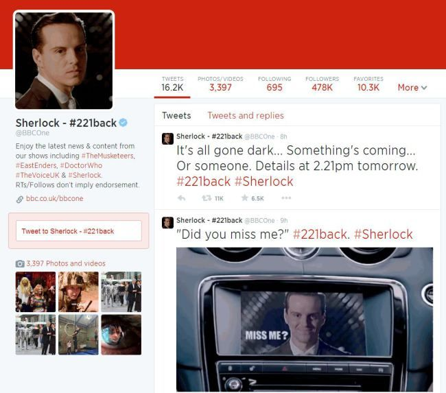 Let's hope it means that Moriarty kills Mary and John goes HOME!                            What does #221back mean for Sherlock season 4?