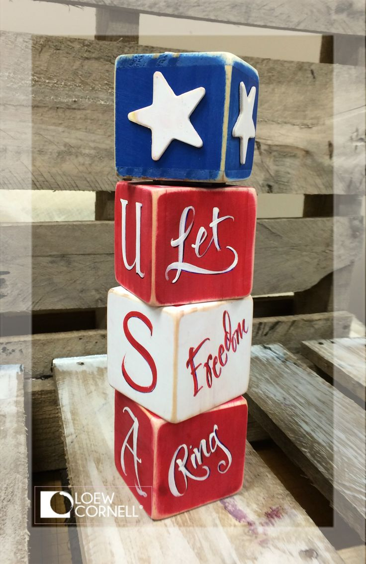 Fill your home with DIY Americana crafts. This wooden block tower is fun and easy to create with Simply Art Wood Square Blocks and Stars for any Patriotic Decor.