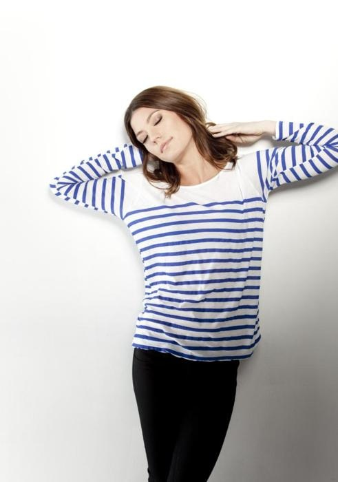 Jennifer Carpenter wearing blue striped Breton top and black skinnies