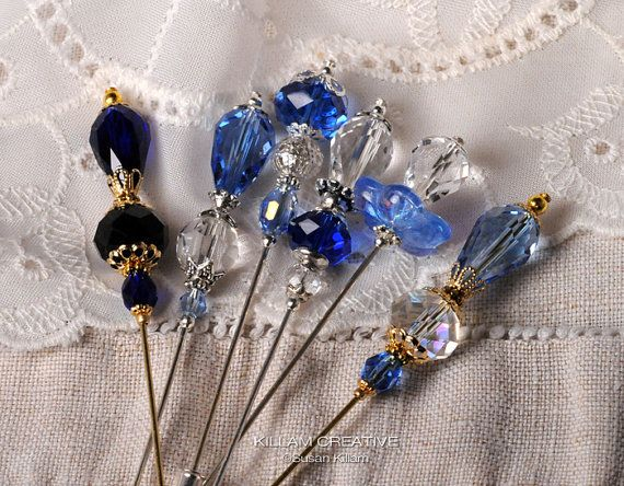 Royal Blue 3 Crystal Stick Pin  Hat Pin  Scarf by KillamCreative