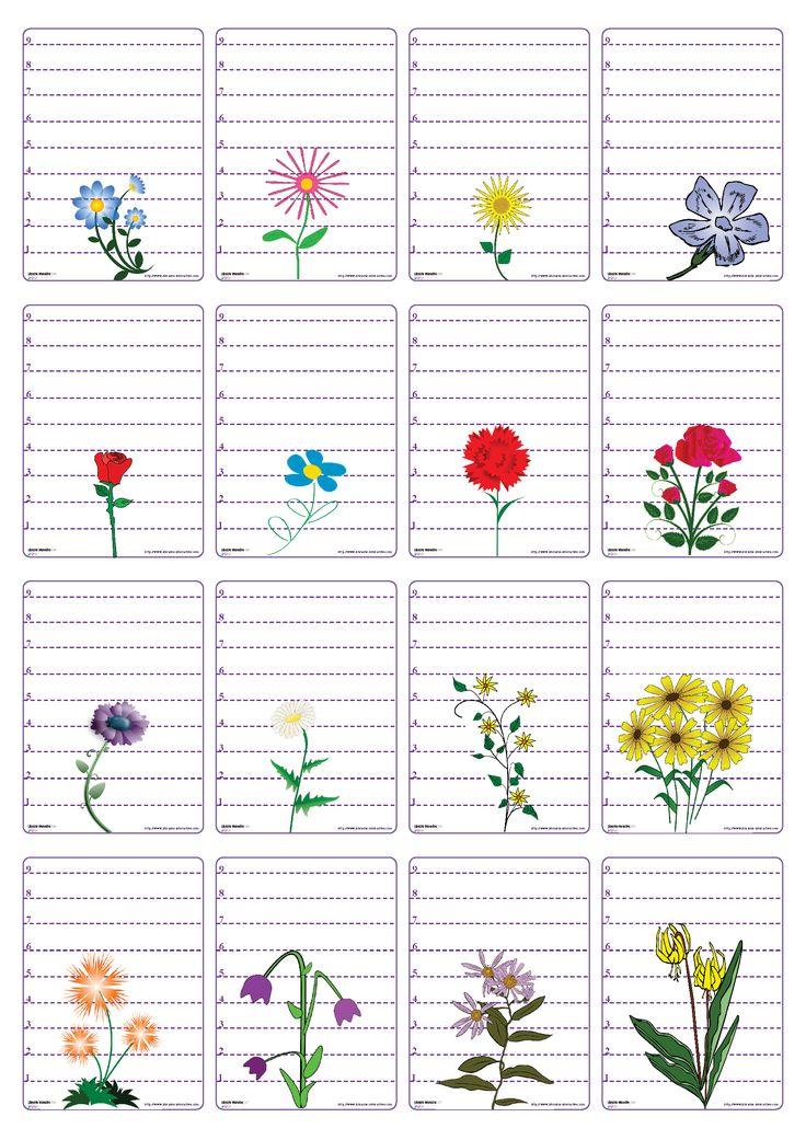 Un jeu de 48 cartes sur le thème des fleurs pour jouer à la bataille en comparant les longueurs et les chiffres de 0 à 9.