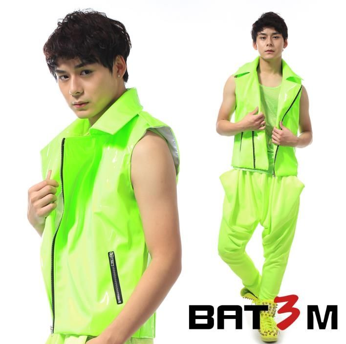 Oblique zipper personality slim male neon green motorcycle vest men sleeveless shorts top punk rock costumes singer dance stage
