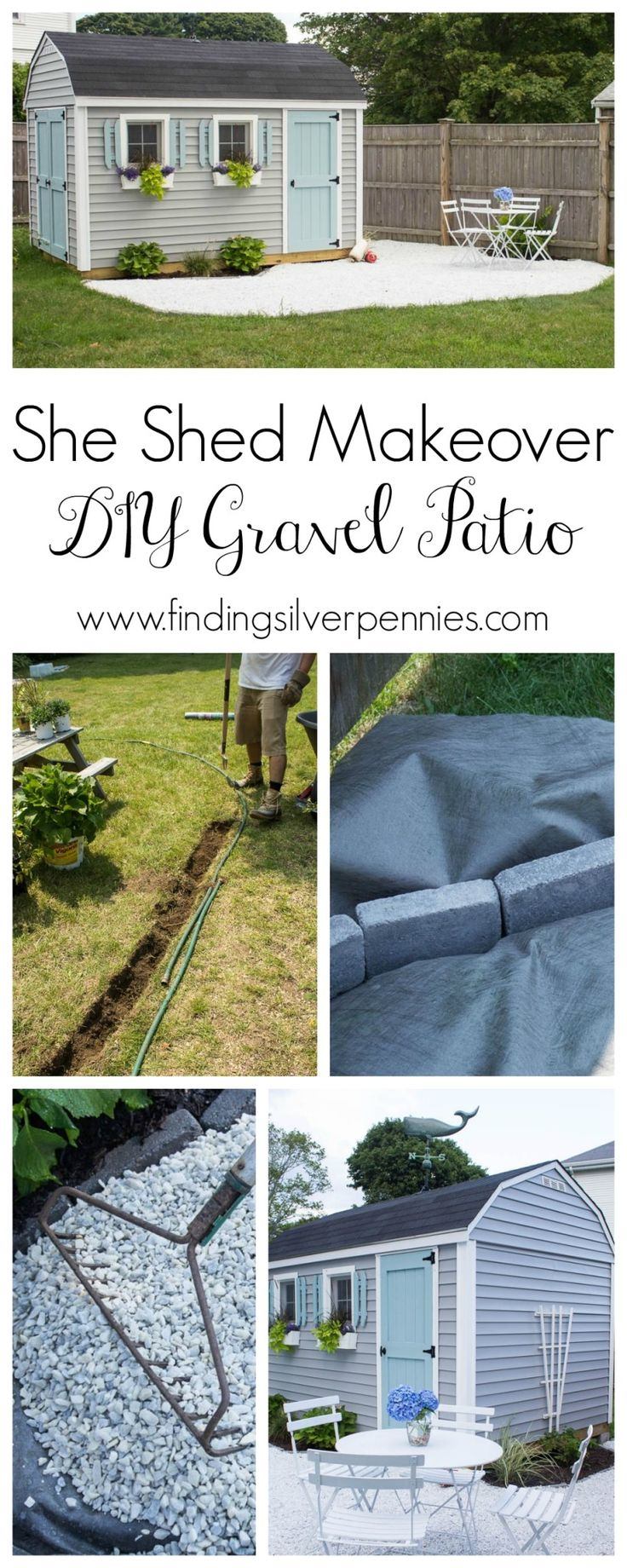 The gravel patio adds a lovely sitting area outside this Nantucket-inspired She Shed. Danielle Driscoll of Finding Silver Pennies shows how she created the the patio using white marble chips... and how she added other cute touches to her She Shed. || @DDSilverPennies