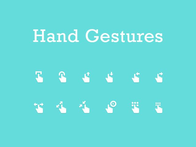 12 hand gesture icons