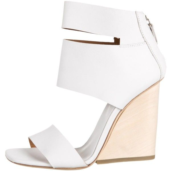 Pre-owned Vic Matie Leather Wedge Sandals ($175) ❤ liked on Polyvore featuring shoes, sandals, white, zipper sandals, white sandals, wedge heel shoes, leather shoes and leather sandals