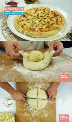 Chaczapuri - gruziński przysmak Farsz:      250 gram sera żółtego     300 gram sera mozzarella     250 gram sera feta     jajko