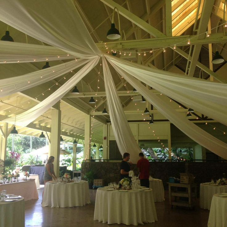 Wheel style of swag draping and cafe lights - Waimea Valley Pavilion