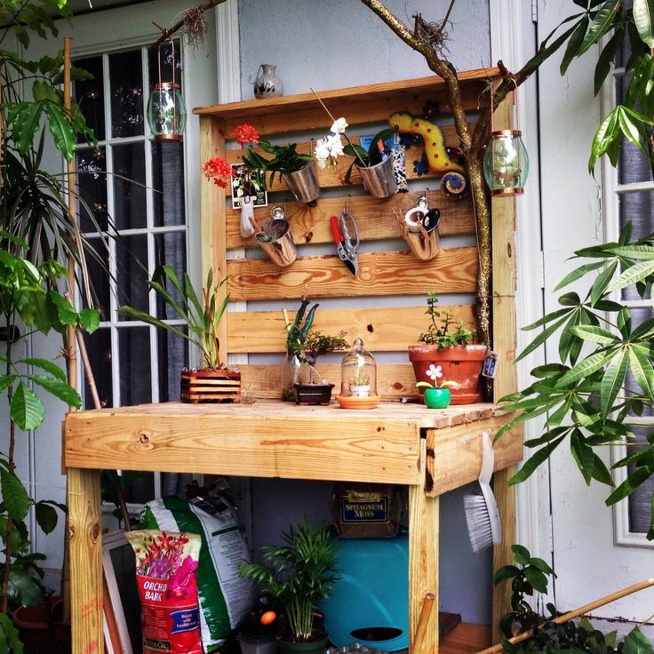 DIY Pallet Potting Bench Pallet Garden Pinterest