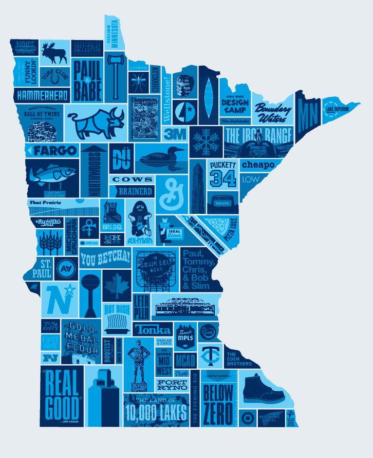Minnesota map. I think my favorite is the 'Hot Dish' icon! Tator tot hot dish, anyone?