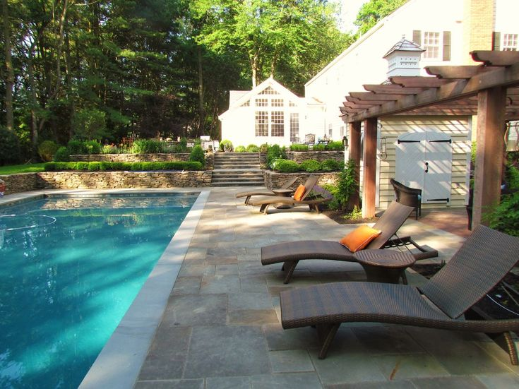 Wayfair Patio Furniture Landscape Traditional With Lounge Area Outdoor  Chaise Lounges Pool Shed Rectangular Pool Stone