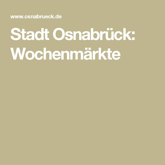 Stadt Osnabrück: Wochenmärkte