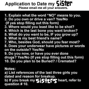 10 rules for dating my daughter application Daddy's rules for dating before you even think of dating my daughter, you'll have to fill out the application for permission to date my daughter.