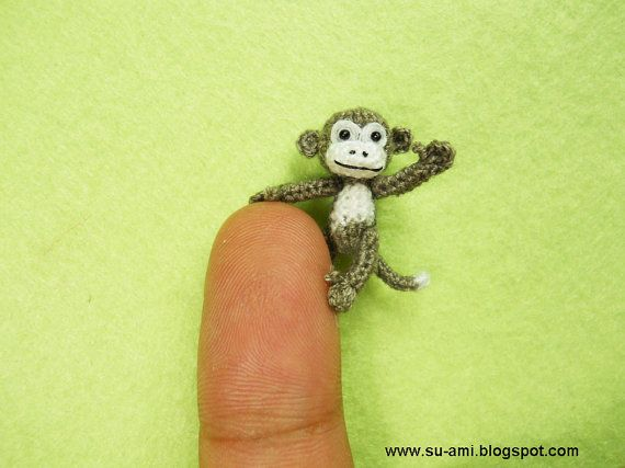 Micro Crochet Monkey  Mini Dollhouse Miniature Animals  1 by suami, $58.00Tiny Animal, Crochet Animal