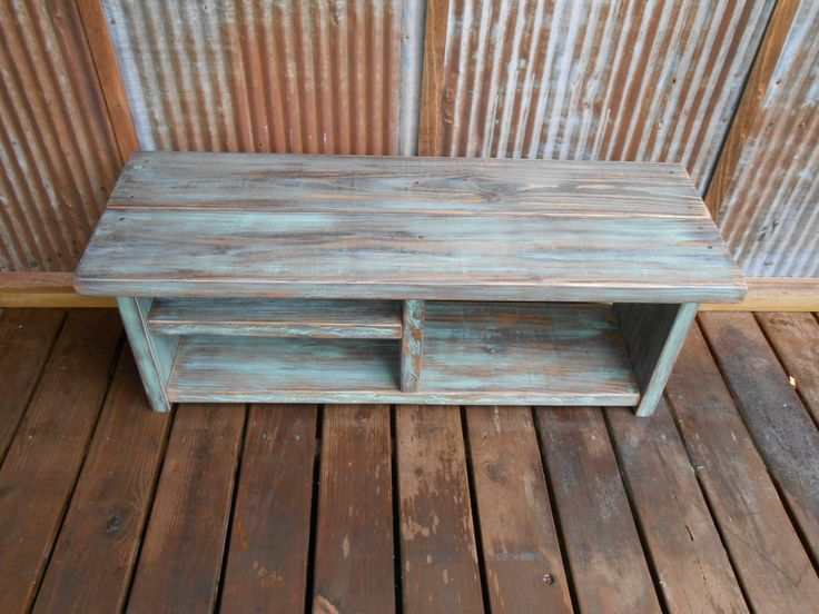 """42"""" Shoe Rack Bench with Boot Cubby - Turquoise Wash by TheHenryHouse on Etsy https://www.etsy.com/listing/154331247/42-shoe-rack-bench-with-boot-cubby"""