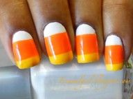candy corn nails: Super cute and super easy. I painted my nails all white then put the other two colors on