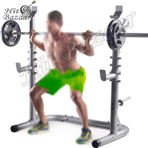 Squat Stands Power Rack Weight Lifting Home Gym Workout Fitness Equipment Gear #ad