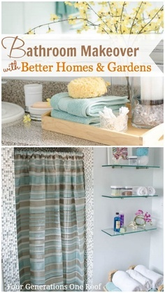 Like the yellow flowers and aqua towels. This link doesn't go anywhere so don't click it. DIY Bathroom Makeover