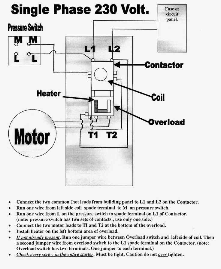 Great Single Phase Starter Wiring Diagram A Big Compressor Throughout  Avec Images
