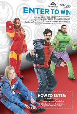 Enter to win 1 of 4 Selk'Bak sleeping bags featuring The Hulk, Captain America, Iron Man & Spiderman! http://woobox.com/ewpkew/ezw03p