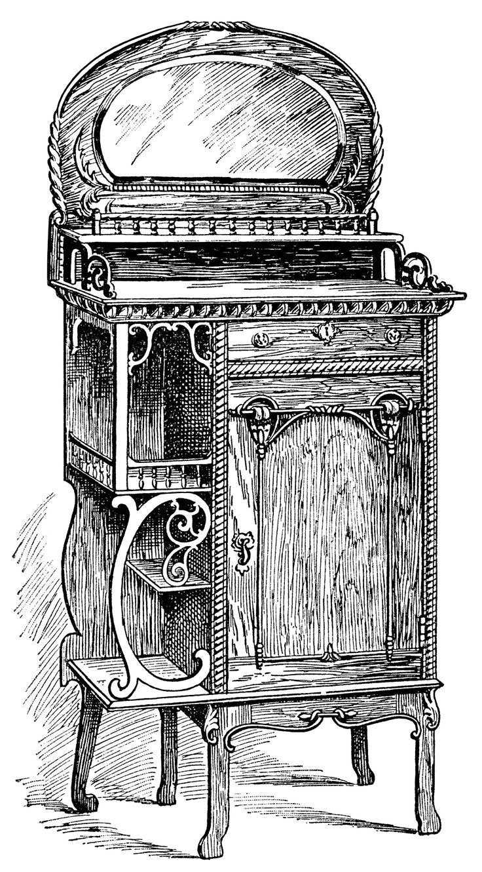 Antique Music Room Cabinet ~ Free Clip Art