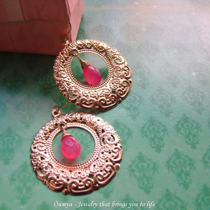 Try these royal looking filigree gold plated earrings with chalcedony semi precious gemstone by Oumya jewels at theamalaanstore.com