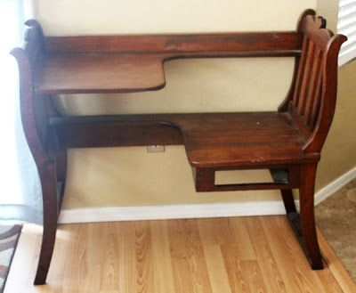 """Two weeks ago, I found this beauty while """"gargage saling"""". I'm told it's an antique phone table. Ilove this pieceantique or not, especiall..."""
